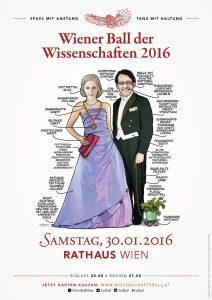 Das diesjährige Plakatsujet des Wiener Balls der Wissenschaften gestaltet von Maria Dusl.